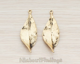PDT693-AG // Antique Gold Plated Antique Twisted Leaf Pendant, 2 Pc