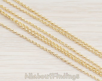CHN011-G // Glossy Gold Plated 1.6 Rolo Chain, 1 Meter.
