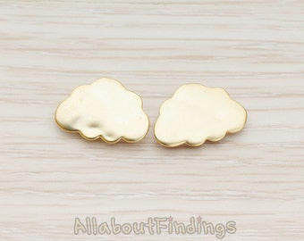 ERG137-01-MG // Matte Gold Plated Smooth Cloud Ear Post, 2 Pc