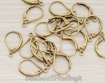 ERG658-01-AB // Antique Brass Plated Leverback Earwire, 10 Pc