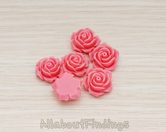 CBC157-02-HP // Hot Pink Colored  Small Angelique Rose Flower Flat Back Cabochon, 4 Pc