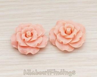 CBC188-PE // Peach Colored Ruffle Rose Flower Flat Back Cabochon, 2 Pc