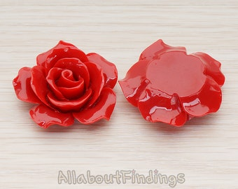 CBC157-07-DR // Dark Red Colored 35mm Angelique Rose Flower Flat Back Cabochon, 2 Pc