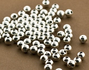 50 Sterling Silver 5mm Round Seamless Smooth Beads - 5mm silver beads