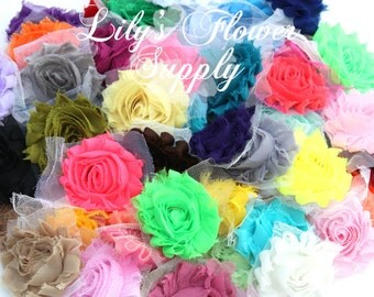 Grab Bag Shabby Flowers - Shabby Rose Trim - Grab Bag - Regular Size - Solids - Shabby Chiffon Flower - Shabby Chic - Rose Trim - 12 Piececs