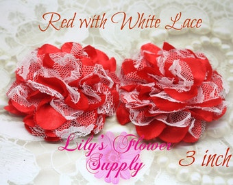 Lace Flower - New Style - Christmas - Set of TWO - Red with White Lace - Chiffon Flower - Lace rose - Shredded Lace Flower - Wholesale - Red