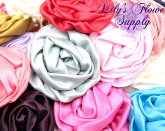 Grab Bag Satin Rolled Rosettes - Choose Quantity - Rolled Rosettes - Satin Flower - Satin Rosette - Rosette -Fabric Flower - Wholesale