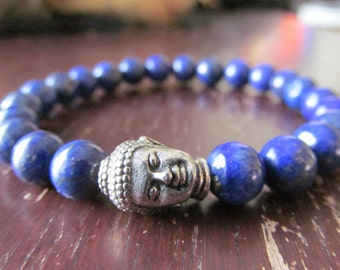 Lapis Lazuli Buddha Bracelet for Women or Men,  Beaded Bracelet, Natural Stone Bracelet,Yoga Jewelry,Mala Bracelet, Gemstone,Blue Bracelet