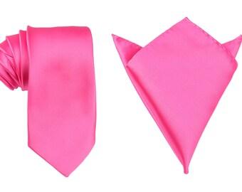 Matching Necktie + Pocket Square Combo New Designer Hot Pink (X013-T85+PS) Men's Handkerchief + Neck Tie 8.5cm Ties Neckties Wedding