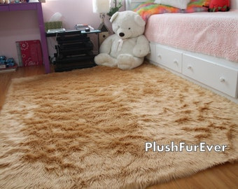 Awesome 8u0027 X 10u0027 Camel Shaggy Fur Faux Fur Rug Rectangle Shape Contemporary Flokati  Plush