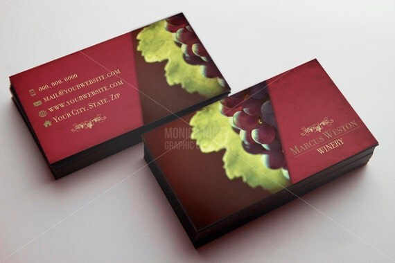 Custom printable winery business card template wine seller for Wine business cards