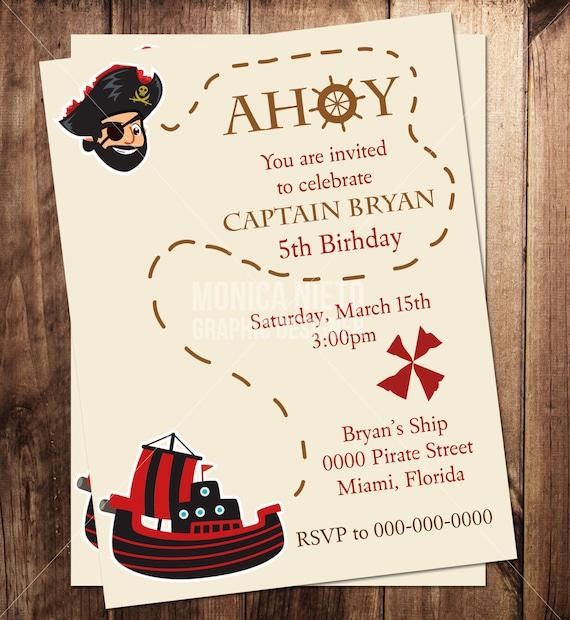 Printable Pirate Birthday Party Invitation Boys Birthday – Pirate Birthday Invitations Wording
