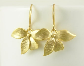 Flower Earrings Gold Orchid Earrings Bridesmaid Earrings Wedding Jewelry