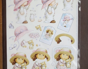 Adorable little girl 3-D die-cut decoupage sheet