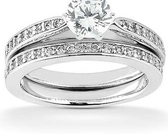 0.70 Cttw Round Diamond Bridal Set in 14K White Gold