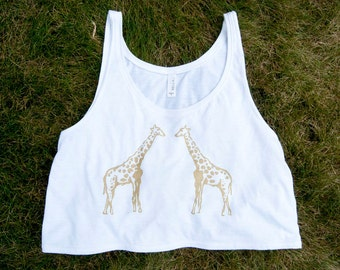 Crop Top Tank, screenprinted giraffes