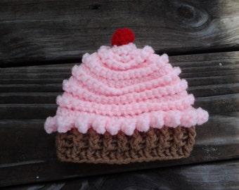 Cupcake hat, crochet pink cupcake hat, toddler cupcake hat, baby girl cupcake hat, toddler cupcake hat, girls cupcake hat, cupcake beanie