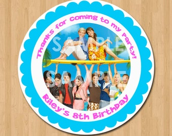 Teen Beach Movie Treat Bag Label - Printable Birthday Party Thank You Favor Sticker Tag Card - 2.5 inch Circle - Matches Invitation
