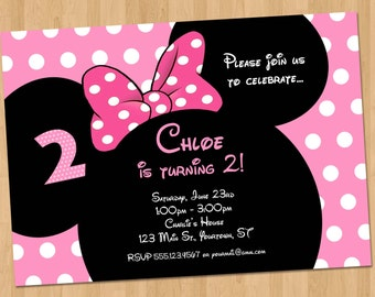 Minnie Mouse Invitation - Printable Birthday Party Custom Personalized Digital Card Invites 4x6 or 5x7 Red, Hot Pink, or Light Pink