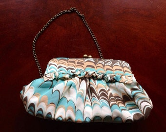 Gorgeous Vintage Marble Purse Aqua Blue and Beige