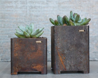 "Square 3"" x 3"" Steel Indoor Outdoor Garden succulent metal planter"