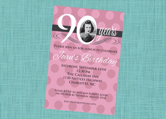 Beliebt Invitation anniversaire adulte Rose Rose 90 80 70 60 NI22
