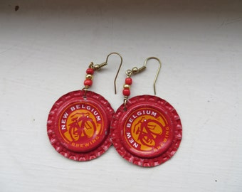 Handmade Beer Bottle Cap Earrings