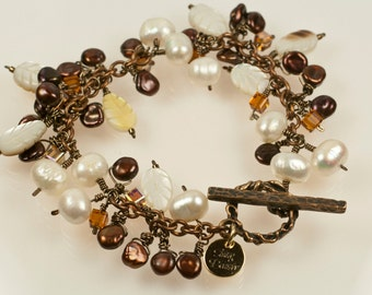 Autumn Leaves Bracelet - fresh water pearls, carved shell, swarovski crystal and bronze