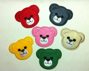 Lot Of 6 Pieces Mixed Color Cutie Bear Embroidered Iron on Applique Patch (AL)