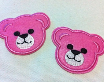 Lot Of 2 Pieces Pink Cutie Bear (5.5 x 4.5) Embroidered Iron on Applique Patch (AL)