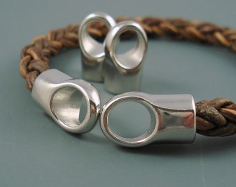 8MM Brass End Cap, FOUR Simple Silver Caps for Leather, Kumihimo  or Cord, 8mm Cap (CAP8-002)
