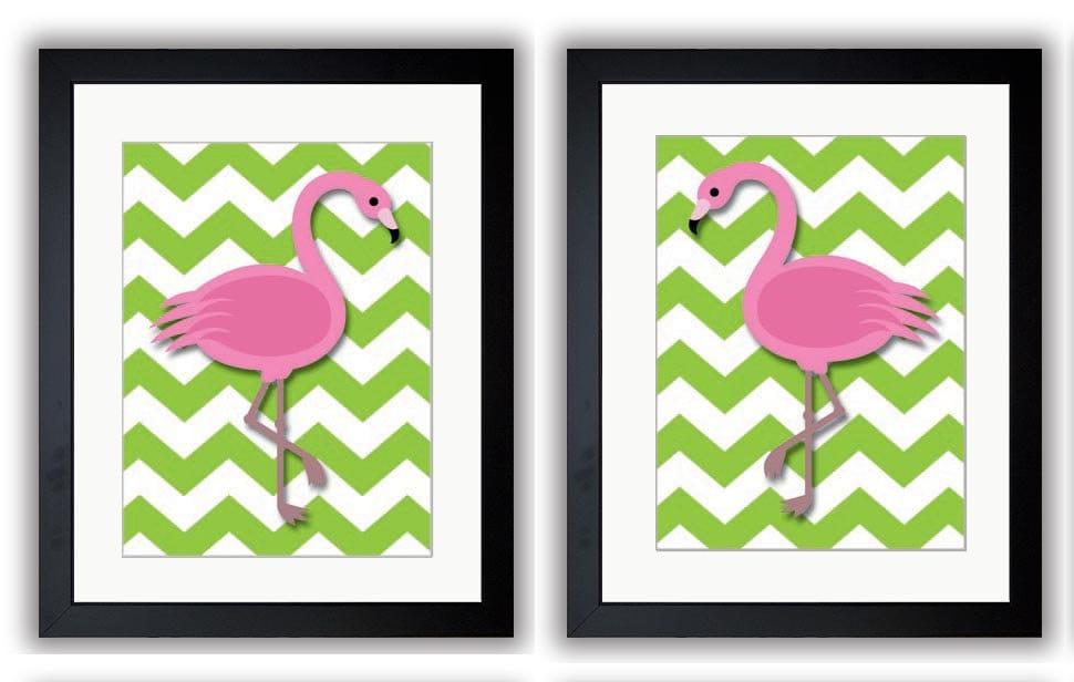 Lime Green Flamingo Pair Art Child Art Print Set of 2 Girls Pink Kids Room Wall Art Decor Girls Art