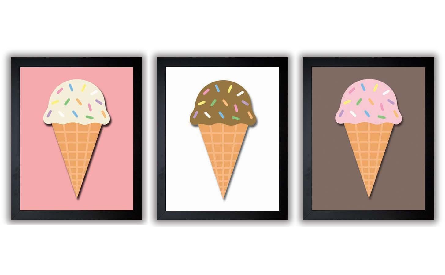 Ice Cream Cones Pink Brown White Kids Art Nursery Art Print Child Baby Art Print Set of 3 Vanilla Ch