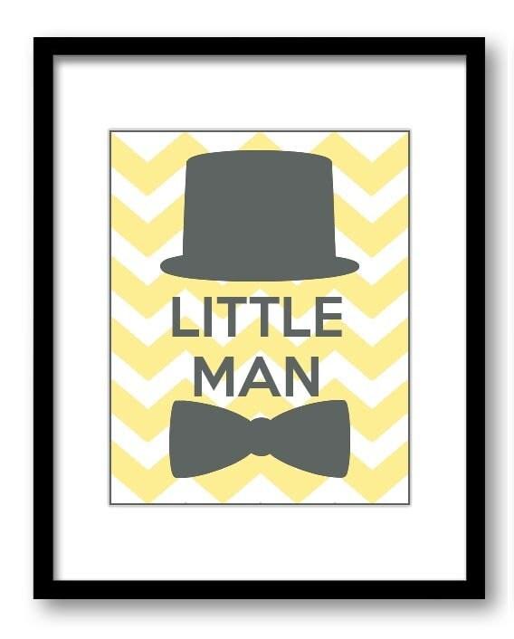Yellow Grey Little Man Nursery Art Nursery Print Tophat Bowtie Child Baby Art Print Boys Kids Room W