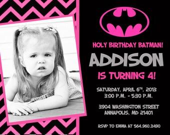 Batman Batgirl Pink Bat Man Bat Girl Birthday Party Invitation - Printable or Printed