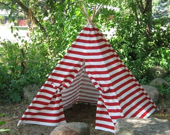 Red and White Striped Teepee Tent, Can Include Window, Play Tent, Or Choose from 11 Other Colors, Poles Included