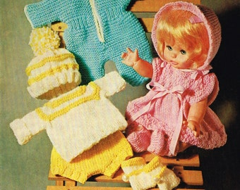 Dolls clothes knitting pattern for 12 inch doll. PDF Instant download.