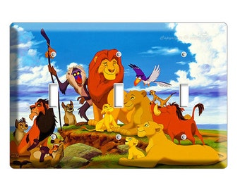 Lion King Adult Simba Mufasa Nala triple light switch cover plate children room girls boys bedroom room