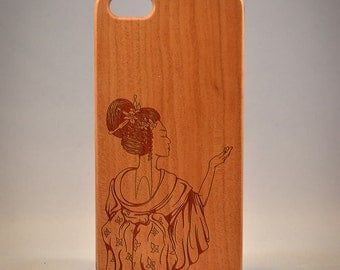 Geisha B036 Laser engraved Wood case for iPhone4/4S/5 with mat plastic