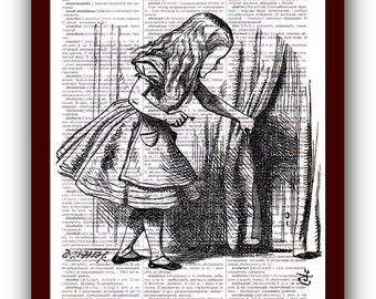 Alice in Wonderland Poster Home Decor Wall Art  Art Print: upcycled dictionary pages  musical Notes Art Print