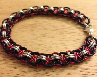 Red and Black Helm Weave Chainmaille Bracelet