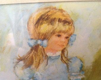 """vintage framed 70's print of young prairie girl by M. Storm marked """"Decorative Arts"""""""