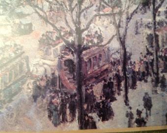 "reproduction painting Pissaro's  ""Boulevard des Italiens, Morning, Sunlight"" framed"