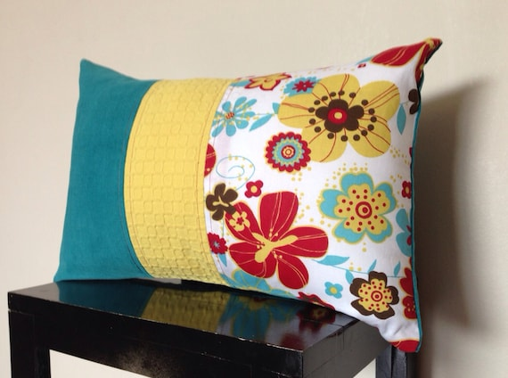Decorative Pillow Aqua Turquoise Red Ochre Pillow By