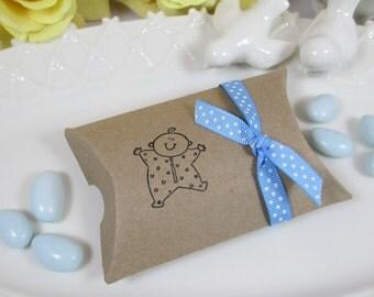 10 Girl Baby Shower Kraft Pillow Favor Box, Boy Baby Shower Kraft Pillow Favor Box, It's a Girl Pillow Gift Box, It's a Boy Pillow Gift Box