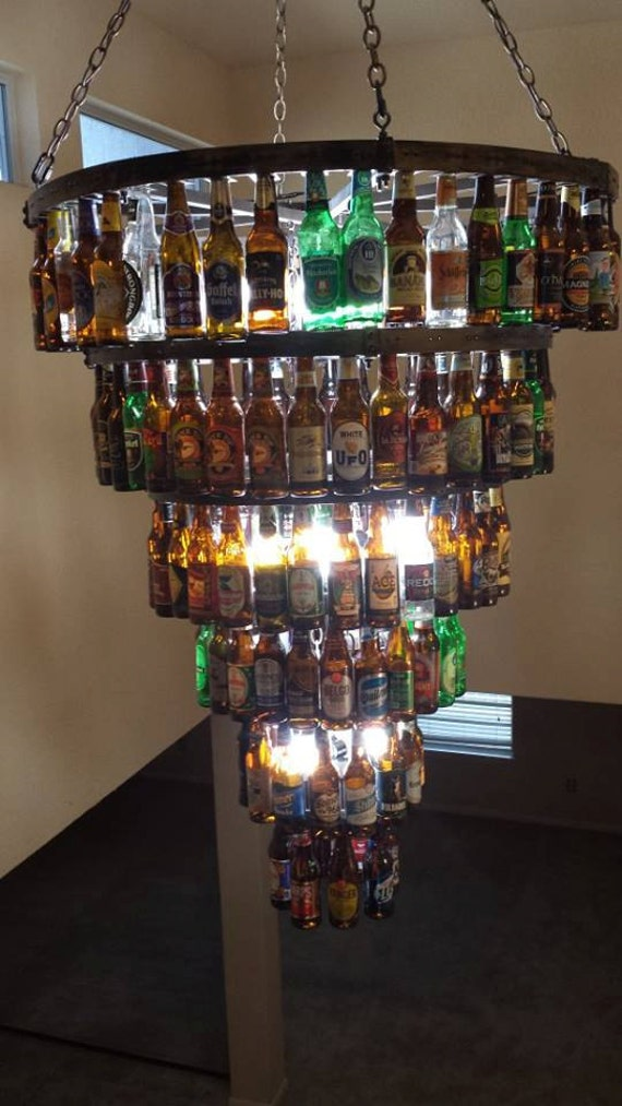 Items Similar To Six Tier Beer Bottle Chandelier On Etsy