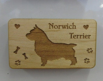 Original Design Norwich Terrier Wood Magnet
