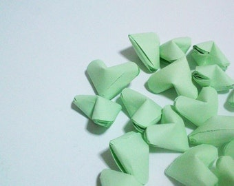 Mint Origami Hearts, Paper Hearts, Set of 20