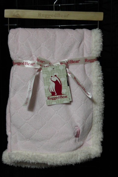 pink rugged bear baby blanket for girls  minky with sherpa