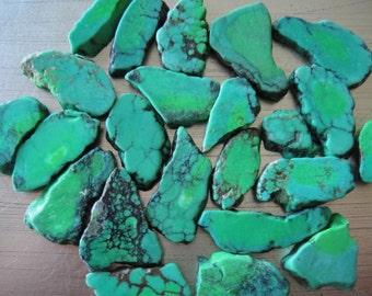 Green Turquoise Bead Natural Small Slab Shape Drilled Lot 4 pieces